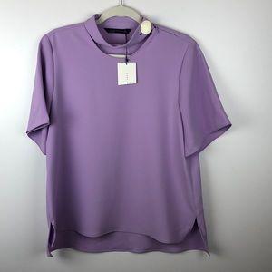 Zara Woman Purple Short Sleeve High Neck Top